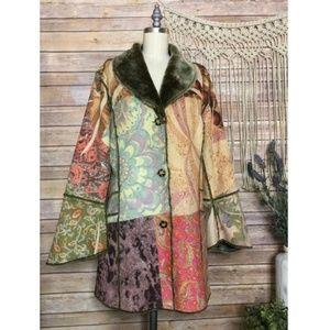 Boho Floral Hippie Printed Fur Coat